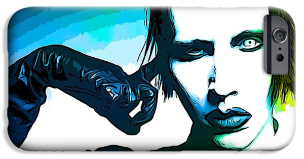 Multimedia Mixed Media iPhone Cases - Marilyn Manson Poster iPhone Case by Dan Sproul