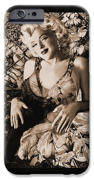 Theo Danella iPhone Cases - Marilyn Monroe 126 a sepia iPhone Case by Theo Danella