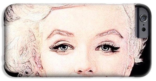 Best Buy Mixed Media iPhone Cases - Marilyn Monroe 2 iPhone Case by Lisa Piper Menkin Stegeman