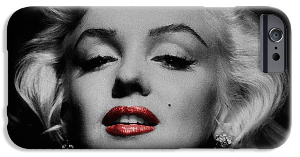 Red And Black iPhone Cases - Marilyn Monroe 3 iPhone Case by Andrew Fare