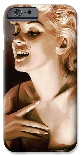 Marilyn Portrait iPhone Cases - Marilyn Monroe Artwork 1 iPhone Case by Sheraz A