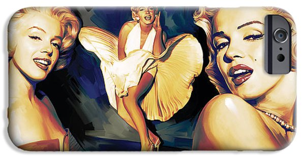 Marilyn Portrait iPhone Cases - Marilyn Monroe Artwork 3 iPhone Case by Sheraz A