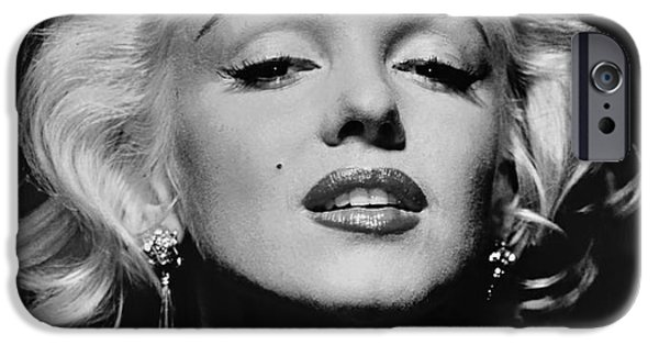 1950s Movies iPhone Cases - Marilyn Monroe Black and White iPhone Case by Nomad Art And  Design