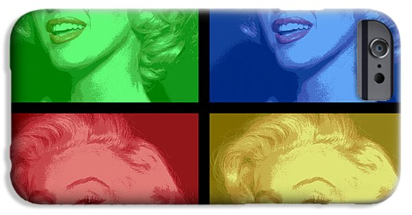 Beauty Mark Digital iPhone Cases - Marilyn Monroe Colored Frame Pop Art iPhone Case by Daniel Hagerman