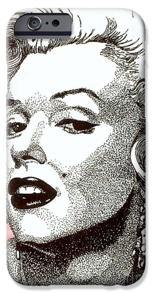 Celebrities Art Drawings iPhone Cases - Marilyn Monroe iPhone Case by Cory Still