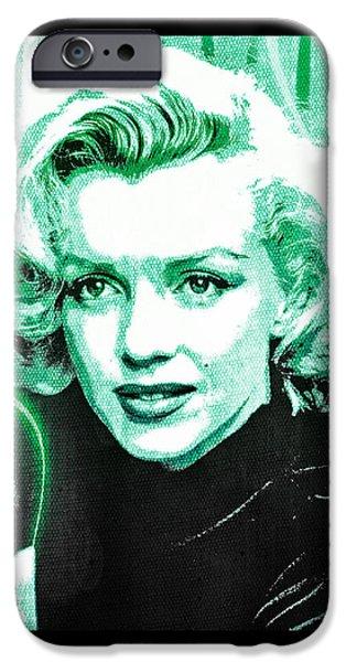 Marilyn Monroe - Green iPhone Case by Absinthe Art By Michelle LeAnn Scott