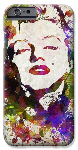 Marilyn Portrait iPhone Cases - Marilyn Monroe in Color iPhone Case by Aged Pixel