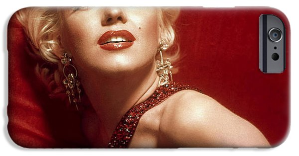 1950s Movies iPhone Cases - Marilyn Monroe in Red iPhone Case by Nomad Art And  Design