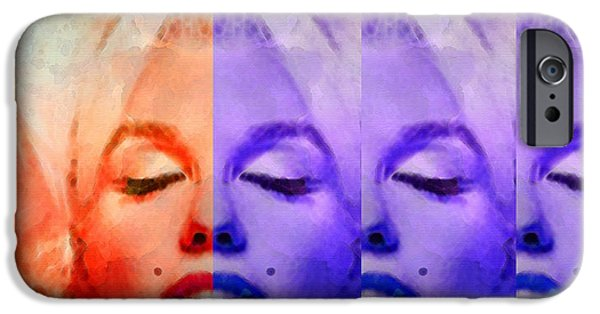 Marilyn Portrait iPhone Cases - Marilyn Monroe - Living Color by Sharon Cummings iPhone Case by Sharon Cummings