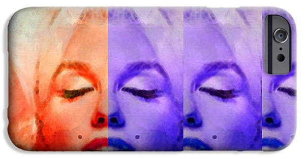 Figure Mixed Media iPhone Cases - Marilyn Monroe - Living Color by Sharon Cummings iPhone Case by Sharon Cummings