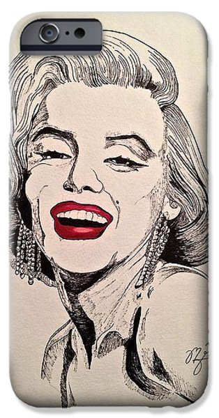 1950s Movies iPhone Cases - Marilyn Monroe iPhone Case by Michael  Parrella