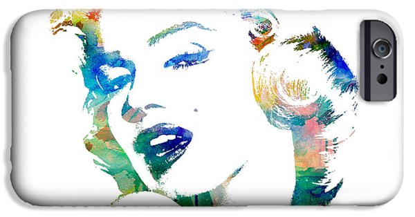 Painted Mixed Media iPhone Cases - Marilyn Monroe iPhone Case by Mike Maher