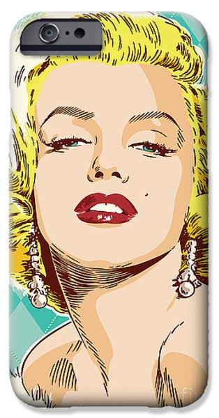 Business Digital Art iPhone Cases - Marilyn Monroe Pop Art iPhone Case by Jim Zahniser