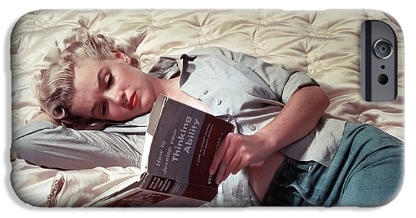 1950s Movies iPhone Cases - Marilyn Monroe Reading iPhone Case by Nomad Art And  Design