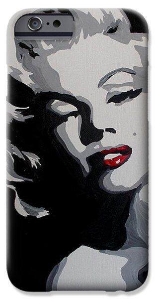 Dressing Room Paintings iPhone Cases - Marilyn Monroe Red Lips iPhone Case by Marisela Mungia