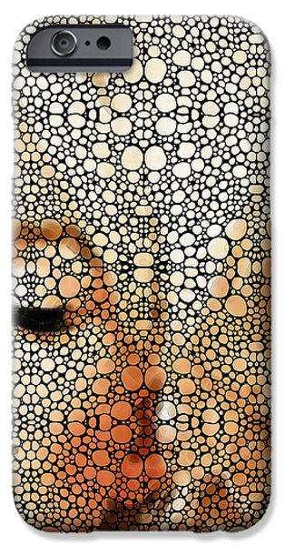 Marilyn Monroe - Stone Rock'd Art Painting iPhone Case by Sharon Cummings