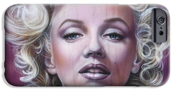 Airbrush iPhone Cases - Marilyn Monroe iPhone Case by Tim  Scoggins