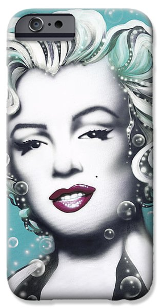 Silver Turquoise iPhone Cases - Marilyn Monroe Turquoise iPhone Case by Alicia Hayes
