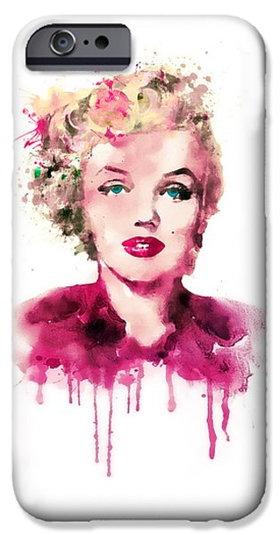 60s Hair iPhone Cases - Marilyn Monroe watercolor iPhone Case by Marian Voicu