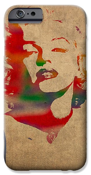 Marilyn Portrait iPhone Cases - Marilyn Monroe Watercolor Portrait on Worn Distressed Canvas iPhone Case by Design Turnpike