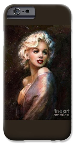 Portrait Paintings iPhone Cases - Marilyn romantic WW 1 iPhone Case by Theo Danella