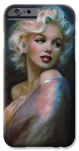 Marilyn romantic WW dark blue iPhone Case by Theo Danella