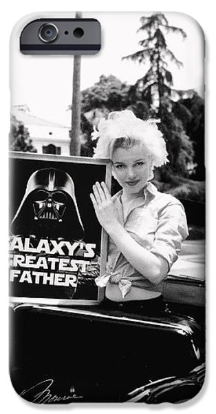 Autographed Digital Art iPhone Cases - Marilyn with Vader Father Award iPhone Case by Paul Van Scott