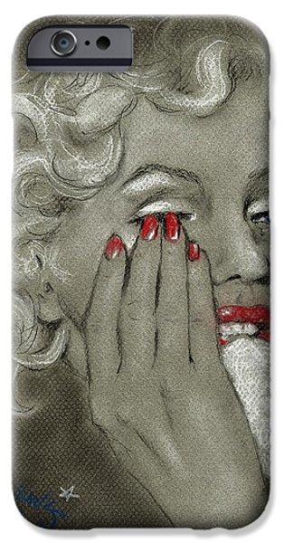 Crying Drawings iPhone Cases - Marilyns tears iPhone Case by P J Lewis