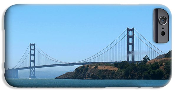 Sausalito iPhone Cases - Marin County View of the Golden Gate Bridge iPhone Case by Connie Fox