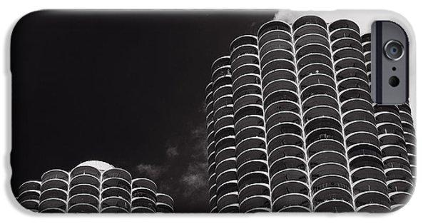 Historic Architecture iPhone Cases - Marina City Morning B W iPhone Case by Steve Gadomski