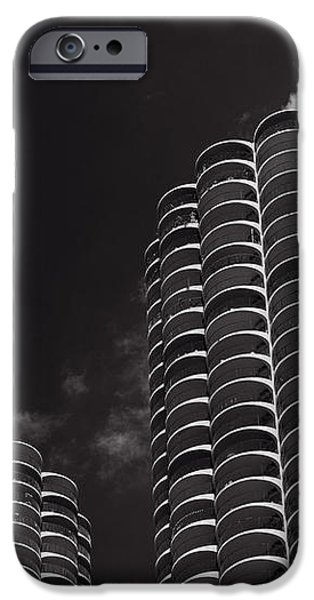 Marina City Morning B W iPhone Case by Steve Gadomski