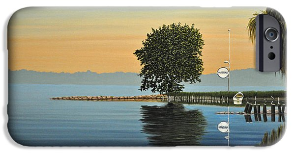 Canoe iPhone Cases - Marina Morning iPhone Case by Kenneth M  Kirsch
