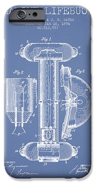 Savings iPhone Cases - Marine Lifebuoy Patent from 1894 - Light Blue iPhone Case by Aged Pixel