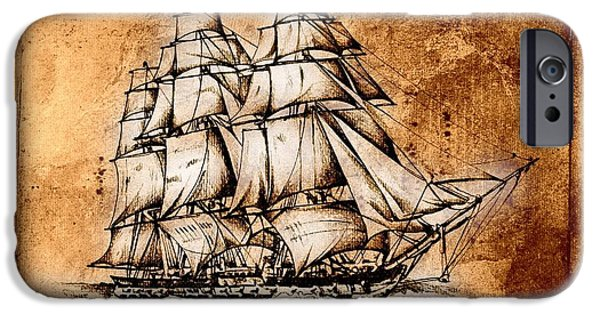 Pirate Ship iPhone Cases - Marine sea 38 iPhone Case by Rafal Kulik