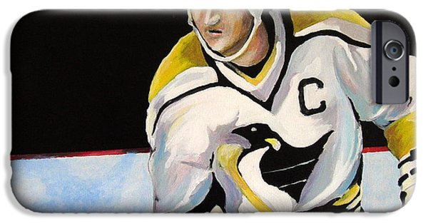 Stanley Cup Paintings iPhone Cases - Mario Lemieux The Penguin That Saved Pittsburgh iPhone Case by Philip Kram