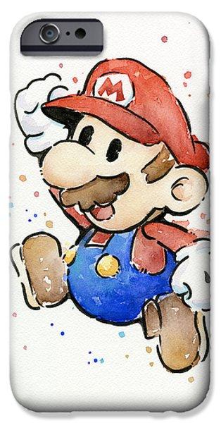 Cute Illustration iPhone Cases - Mario Watercolor Fan Art iPhone Case by Olga Shvartsur