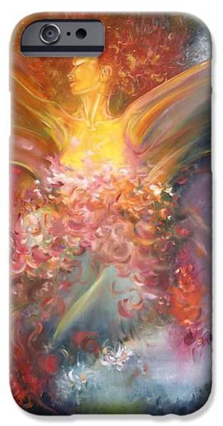 Seraphim Angel iPhone Cases - Breast Cancer Research Foundation iPhone Case by Julio R Lopez Jr