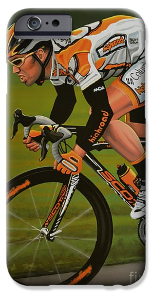 Summer Sports Paintings iPhone Cases - Mark Cavendish iPhone Case by Paul Meijering