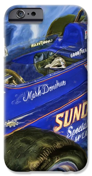 Indy Car iPhone Cases - Mark Donohue 1972 Indy 500 Winning Car iPhone Case by Blake Richards