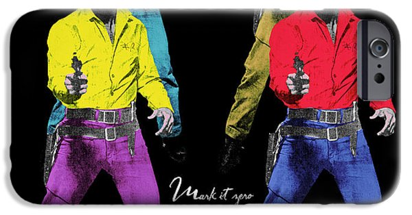Quentin Tarantino iPhone Cases - Mark it zero pop art set of 4 iPhone Case by Filippo B