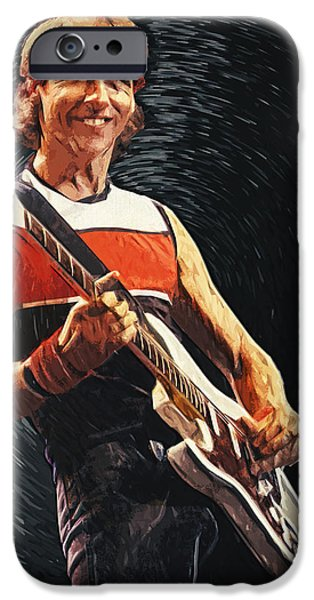 Legendary Music Singers iPhone Cases - Mark Knopfler iPhone Case by Taylan Soyturk