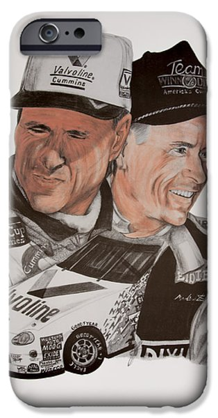 Baseball Uniform Drawings iPhone Cases - Mark Martin race car driver iPhone Case by Joe Lisowski