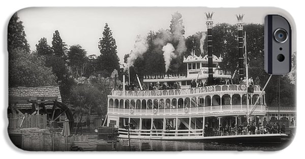 Beauty Mark iPhone Cases - Mark Twain Riverboat Frontierland Disneyland BW iPhone Case by Thomas Woolworth