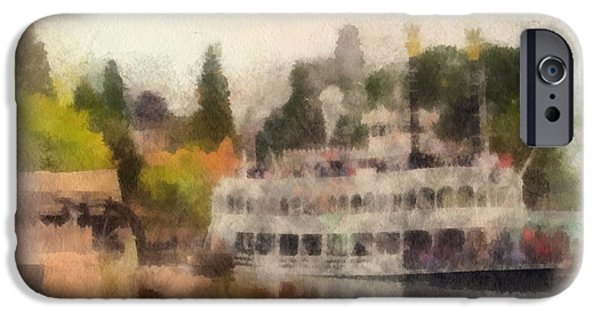 Beauty Mark Digital iPhone Cases - Mark Twain Riverboat Frontierland Disneyland Photo Art 01 iPhone Case by Thomas Woolworth