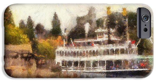 Beauty Mark Digital iPhone Cases - Mark Twain Riverboat Frontierland Disneyland Photo Art 02 iPhone Case by Thomas Woolworth