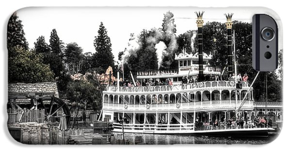 Beauty Mark iPhone Cases - Mark Twain Riverboat Frontierland Disneyland SC iPhone Case by Thomas Woolworth