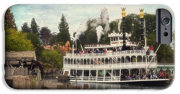 Beauty Mark iPhone Cases - Mark Twain Riverboat Frontierland Disneyland Textured Sky iPhone Case by Thomas Woolworth