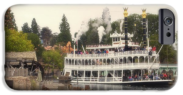 Beauty Mark iPhone Cases - Mark Twain Riverboat Frontierland Disneyland iPhone Case by Thomas Woolworth