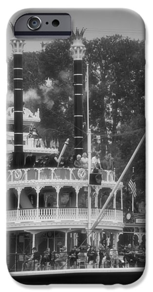 Beauty Mark iPhone Cases - Mark Twain Riverboat Frontierland Disneyland Vertical BW iPhone Case by Thomas Woolworth