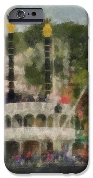 Beauty Mark iPhone Cases - Mark Twain Riverboat Frontierland Disneyland Vertical Photo Art 01 iPhone Case by Thomas Woolworth